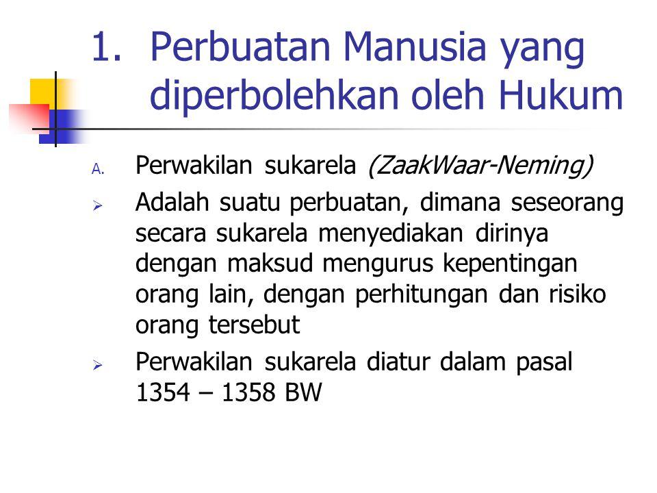 1.Perbuatan Manusia yang diperbolehkan oleh Hukum A. Perwakilan sukarela (ZaakWaar-Neming)  Adalah suatu perbuatan, dimana seseorang secara sukarela