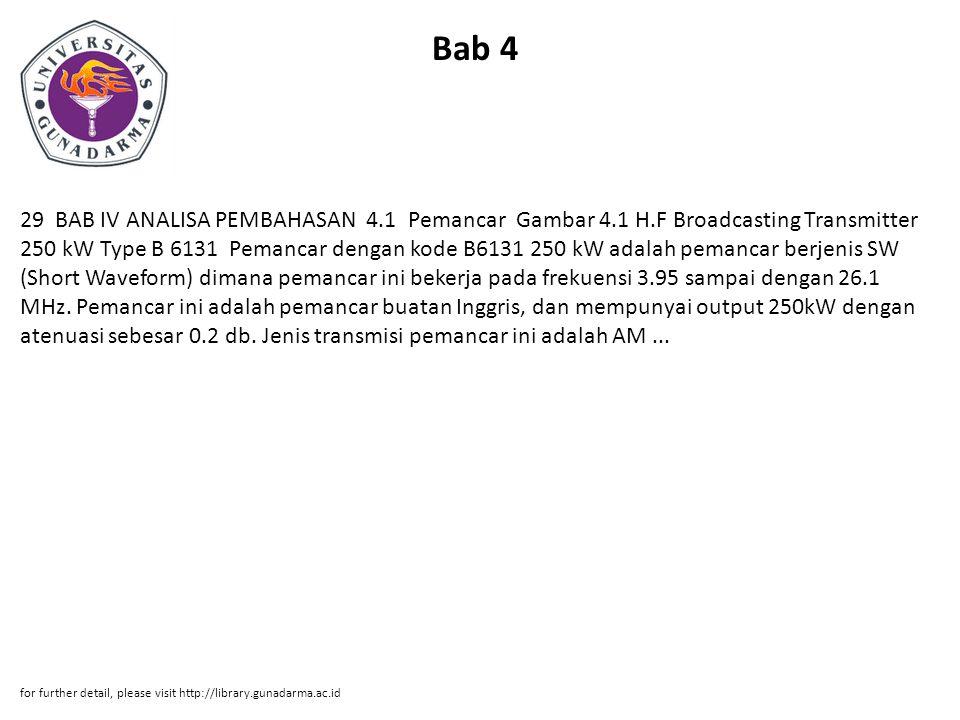Bab 4 29 BAB IV ANALISA PEMBAHASAN 4.1 Pemancar Gambar 4.1 H.F Broadcasting Transmitter 250 kW Type B 6131 Pemancar dengan kode B6131 250 kW adalah pemancar berjenis SW (Short Waveform) dimana pemancar ini bekerja pada frekuensi 3.95 sampai dengan 26.1 MHz.