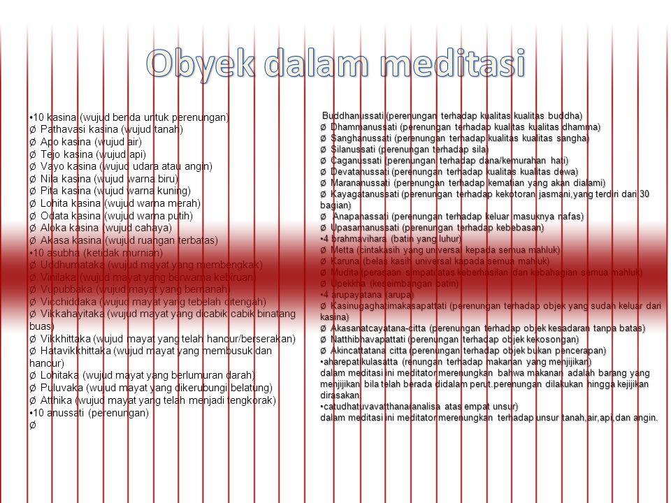 Buddhanussati (perenungan terhadap kualitas kualitas buddha) Buddhanussati (perenungan terhadap kualitas kualitas buddha) Ø Dhammanussati (perenungan