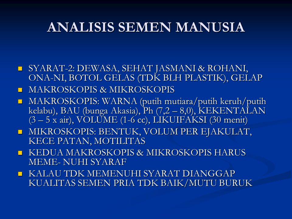 ANALISIS SEMEN MANUSIA SYARAT-2: DEWASA, SEHAT JASMANI & ROHANI, ONA-NI, BOTOL GELAS (TDK BLH PLASTIK), GELAP SYARAT-2: DEWASA, SEHAT JASMANI & ROHANI, ONA-NI, BOTOL GELAS (TDK BLH PLASTIK), GELAP MAKROSKOPIS & MIKROSKOPIS MAKROSKOPIS & MIKROSKOPIS MAKROSKOPIS: WARNA (putih mutiara/putih keruh/putih kelabu), BAU (bunga Akasia), Ph (7,2 – 8,0), KEKENTALAN (3 – 5 x air), VOLUME (1-6 cc), LIKUIFAKSI (30 menit) MAKROSKOPIS: WARNA (putih mutiara/putih keruh/putih kelabu), BAU (bunga Akasia), Ph (7,2 – 8,0), KEKENTALAN (3 – 5 x air), VOLUME (1-6 cc), LIKUIFAKSI (30 menit) MIKROSKOPIS: BENTUK, VOLUM PER EJAKULAT, KECE PATAN, MOTILITAS MIKROSKOPIS: BENTUK, VOLUM PER EJAKULAT, KECE PATAN, MOTILITAS KEDUA MAKROSKOPIS & MIKROSKOPIS HARUS MEME- NUHI SYARAF KEDUA MAKROSKOPIS & MIKROSKOPIS HARUS MEME- NUHI SYARAF KALAU TDK MEMENUHI SYARAT DIANGGAP KUALITAS SEMEN PRIA TDK BAIK/MUTU BURUK KALAU TDK MEMENUHI SYARAT DIANGGAP KUALITAS SEMEN PRIA TDK BAIK/MUTU BURUK