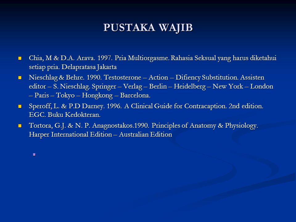 PUSTAKA WAJIB Chia, M & D.A. Arava. 1997. Pria Multiorgasme. Rahasia Seksual yang harus diketahui setiap pria. Delapratasa Jakarta Chia, M & D.A. Arav