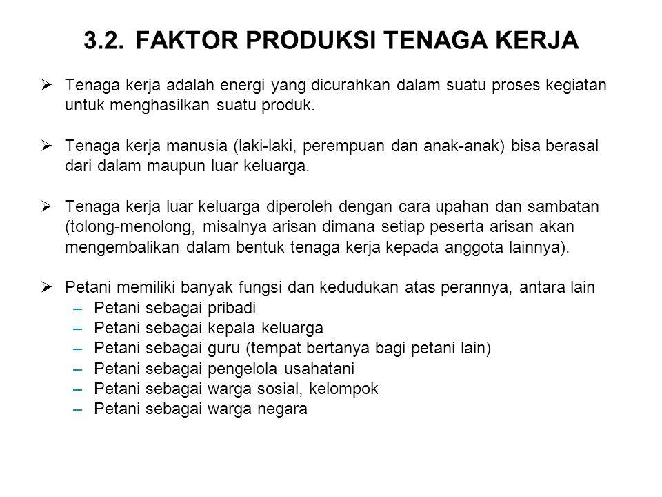 3.2. FAKTOR PRODUKSI TENAGA KERJA  Tenaga kerja adalah energi yang dicurahkan dalam suatu proses kegiatan untuk menghasilkan suatu produk.  Tenaga k