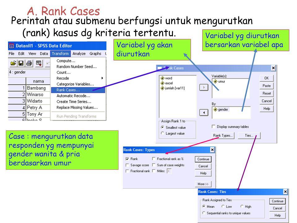A.Rank Cases Perintah atau submenu berfungsi untuk mengurutkan (rank) kasus dg kriteria tertentu.