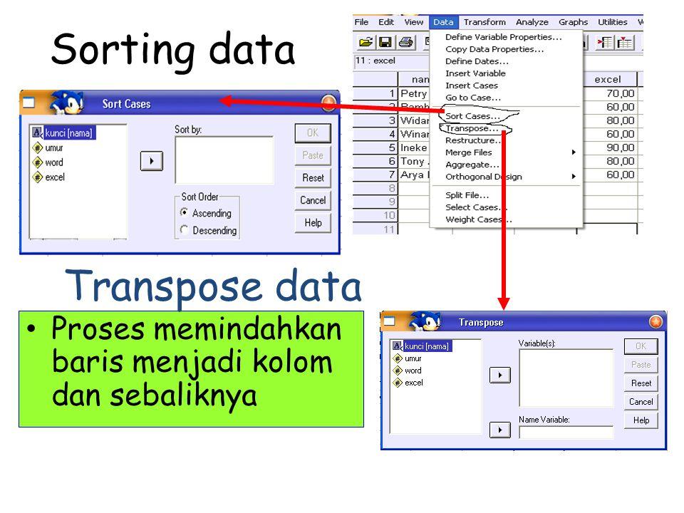Sorting data Proses memindahkan baris menjadi kolom dan sebaliknya Transpose data