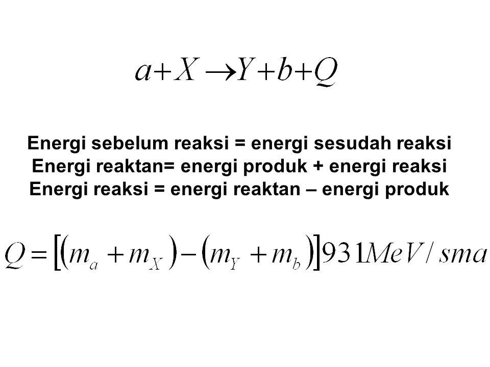 Energi sebelum reaksi = energi sesudah reaksi Energi reaktan= energi produk + energi reaksi Energi reaksi = energi reaktan – energi produk
