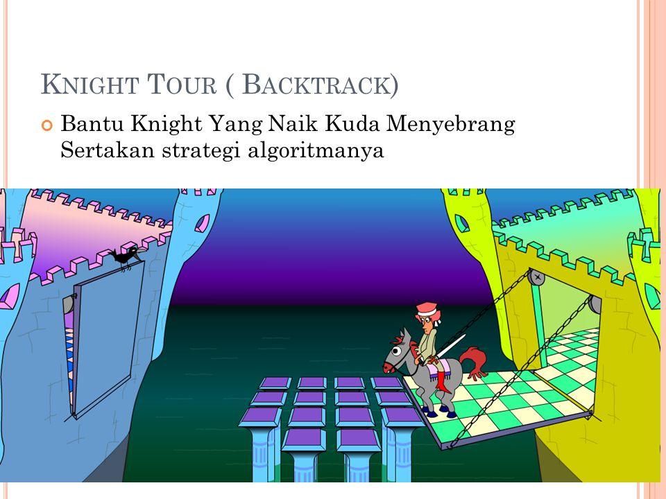 K NIGHT T OUR ( B ACKTRACK ) Bantu Knight Yang Naik Kuda Menyebrang Sertakan strategi algoritmanya