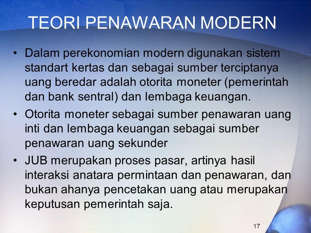 17 TEORI PENAWARAN MODERN Dalam perekonomian modern digunakan sistem standart kertas dan sebagai sumber terciptanya uang beredar adalah otorita monete