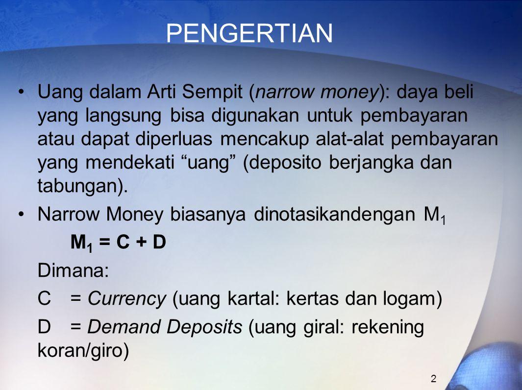 2 PENGERTIAN Uang dalam Arti Sempit (narrow money): daya beli yang langsung bisa digunakan untuk pembayaran atau dapat diperluas mencakup alat-alat pe