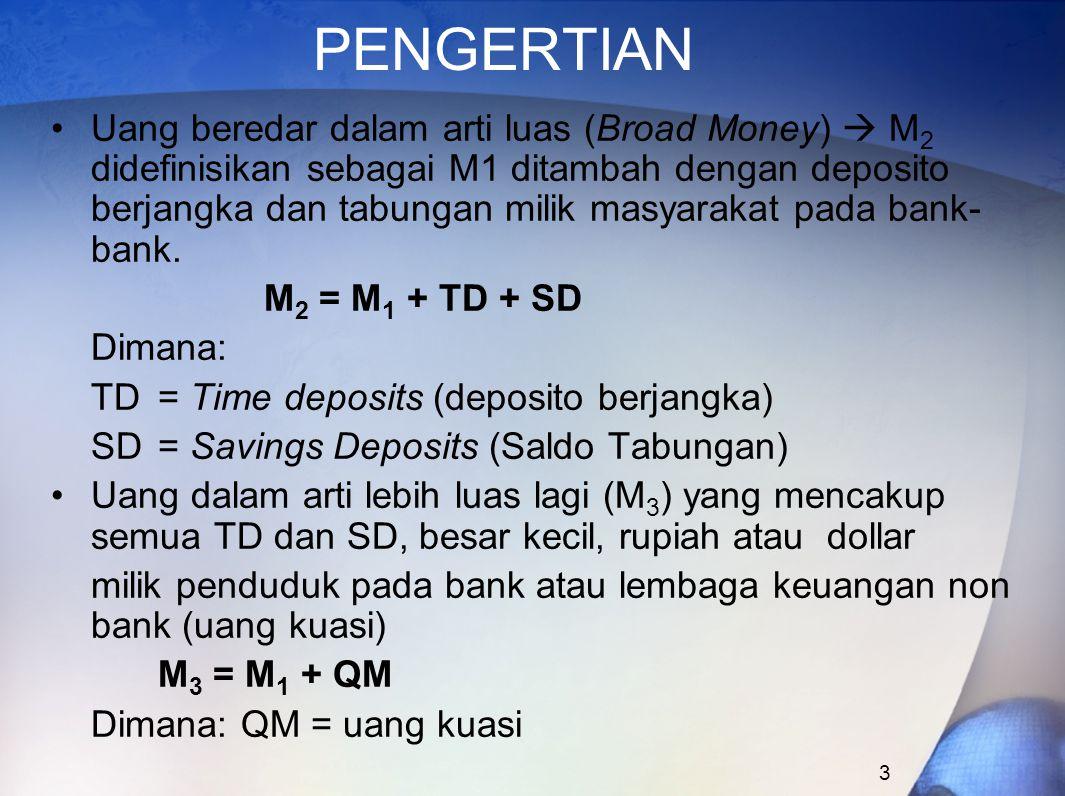 3 PENGERTIAN Uang beredar dalam arti luas (Broad Money)  M 2 didefinisikan sebagai M1 ditambah dengan deposito berjangka dan tabungan milik masyaraka