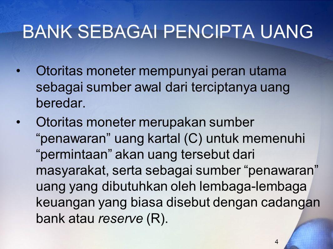 4 BANK SEBAGAI PENCIPTA UANG Otoritas moneter mempunyai peran utama sebagai sumber awal dari terciptanya uang beredar. Otoritas moneter merupakan sumb
