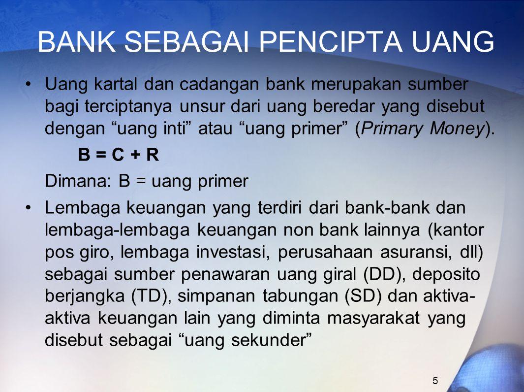"""5 BANK SEBAGAI PENCIPTA UANG Uang kartal dan cadangan bank merupakan sumber bagi terciptanya unsur dari uang beredar yang disebut dengan """"uang inti"""" a"""