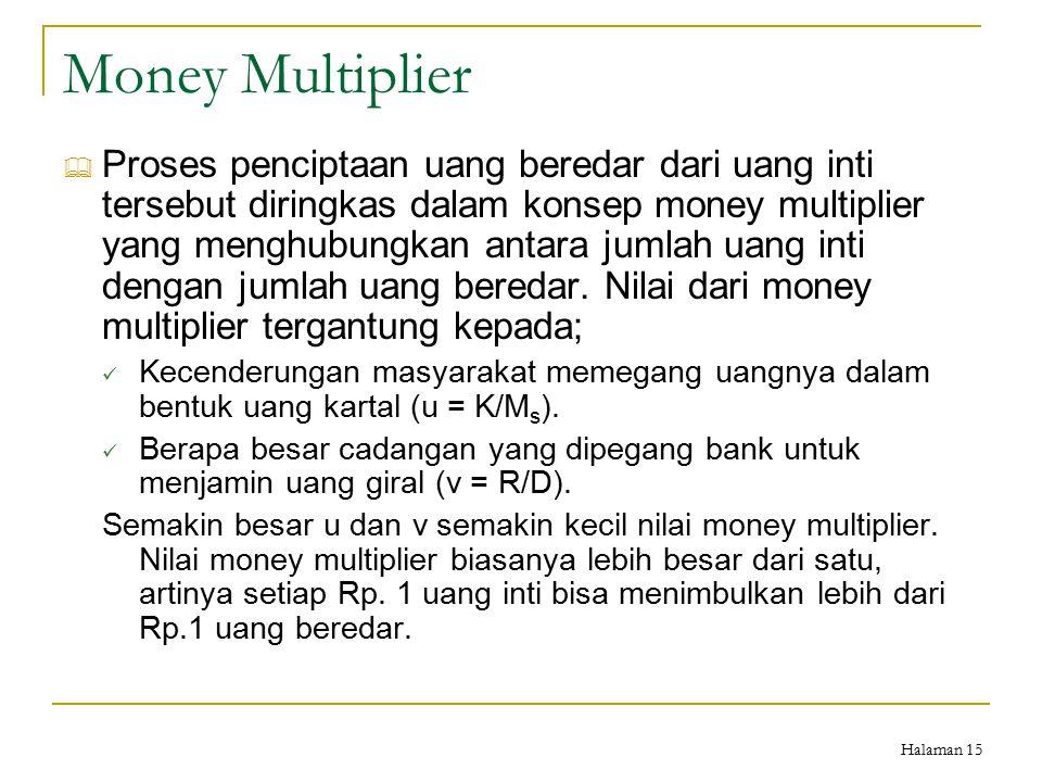 Halaman 15 Money Multiplier  Proses penciptaan uang beredar dari uang inti tersebut diringkas dalam konsep money multiplier yang menghubungkan antara