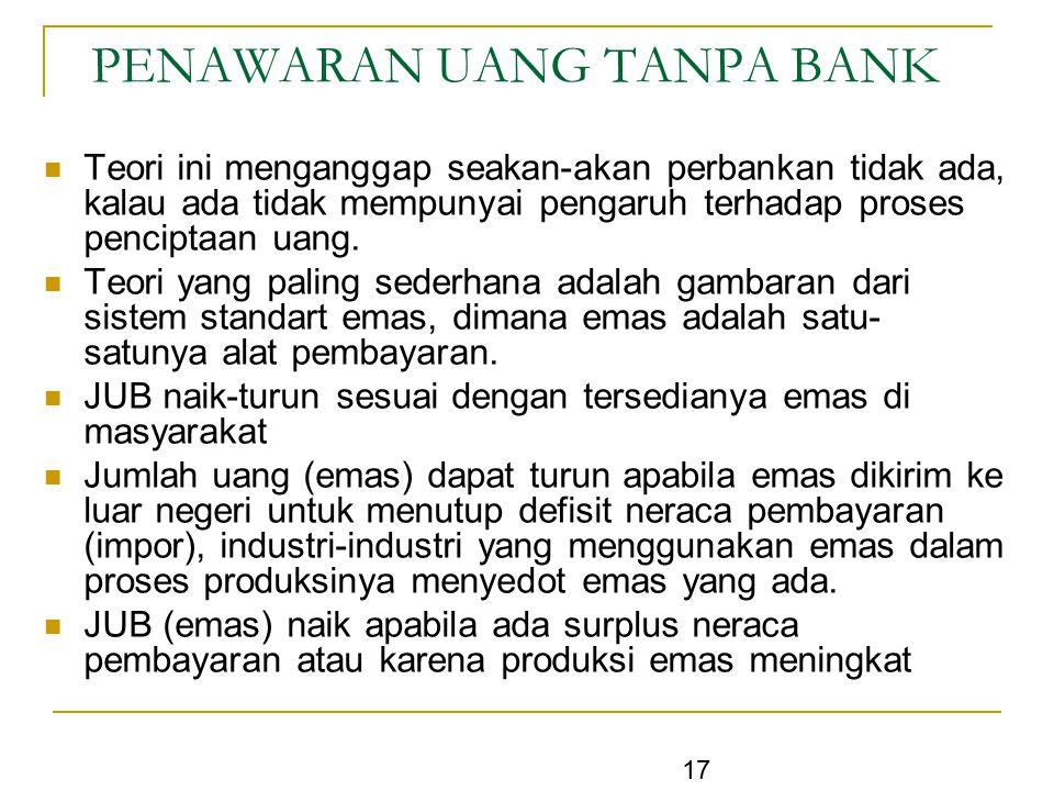 17 PENAWARAN UANG TANPA BANK Teori ini menganggap seakan-akan perbankan tidak ada, kalau ada tidak mempunyai pengaruh terhadap proses penciptaan uang.