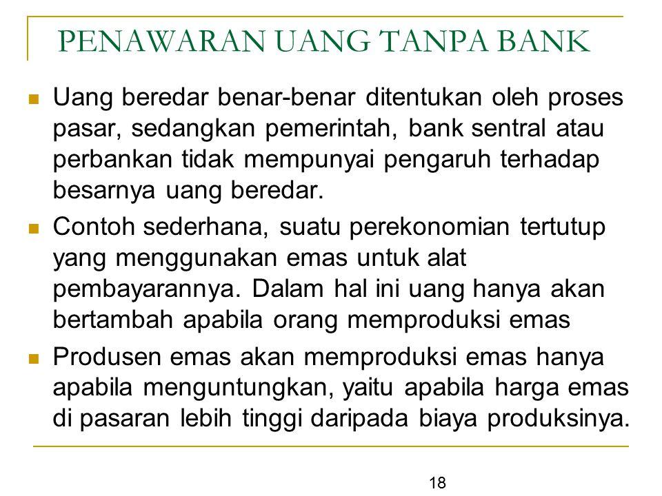 18 PENAWARAN UANG TANPA BANK Uang beredar benar-benar ditentukan oleh proses pasar, sedangkan pemerintah, bank sentral atau perbankan tidak mempunyai