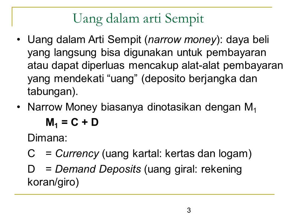 3 Uang dalam arti Sempit Uang dalam Arti Sempit (narrow money): daya beli yang langsung bisa digunakan untuk pembayaran atau dapat diperluas mencakup
