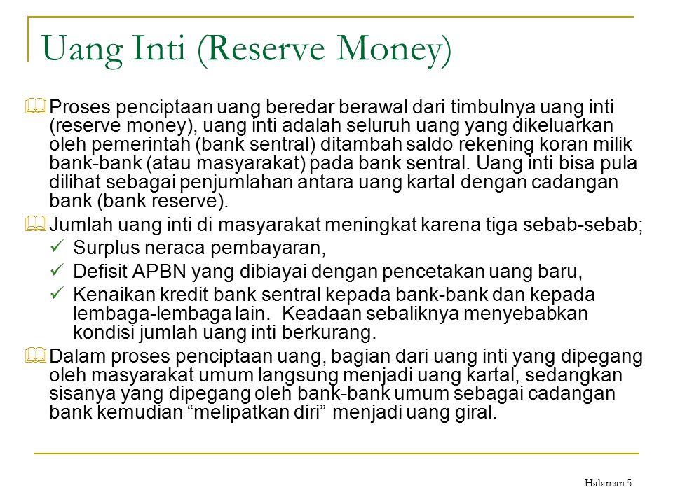 Halaman 5 Uang Inti (Reserve Money)  Proses penciptaan uang beredar berawal dari timbulnya uang inti (reserve money), uang inti adalah seluruh uang y