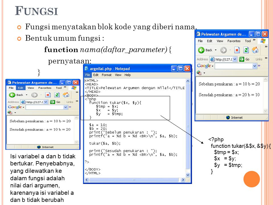 11 F UNGSI Fungsi menyatakan blok kode yang diberi nama. Bentuk umum fungsi : function nama(daftar_parameter) { pernyataan; } <?php function tukar(&$x