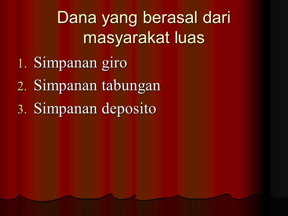 Dana yang bersumber dari lembaga lainnya.1. Bantuan Likwiditas bank Indonesia (BLBI) 2.
