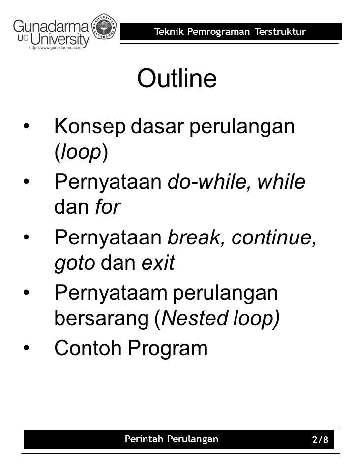 Teknik Pemrograman Terstruktur Perintah Perulangan 2/8 Outline Konsep dasar perulangan (loop) Pernyataan do-while, while dan for Pernyataan break, con
