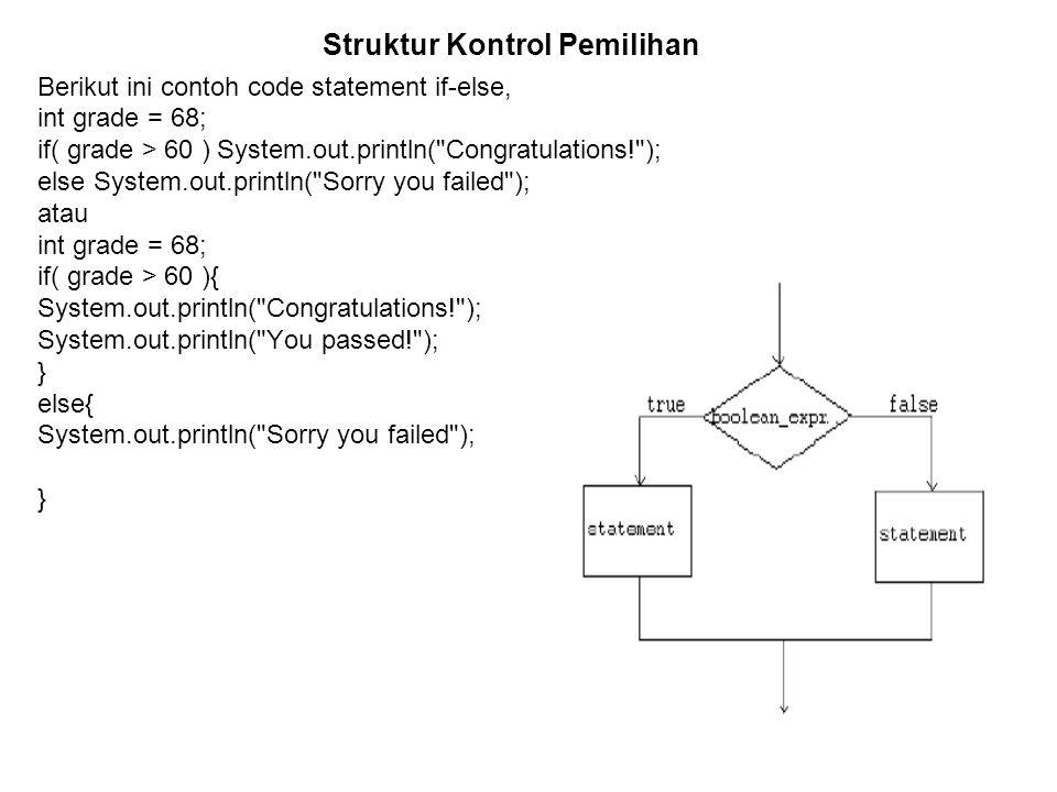 Struktur Kontrol Pemilihan Statement if-else-if Pernyataan pada bagian kondisi else dari blok if-else dapat menjadi struktur if-else yang lain.