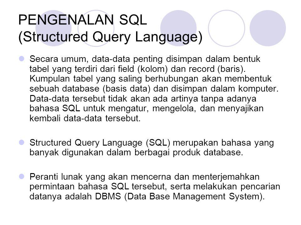 PENGENALAN SQL (Structured Query Language) Secara umum, data-data penting disimpan dalam bentuk tabel yang terdiri dari field (kolom) dan record (baris).