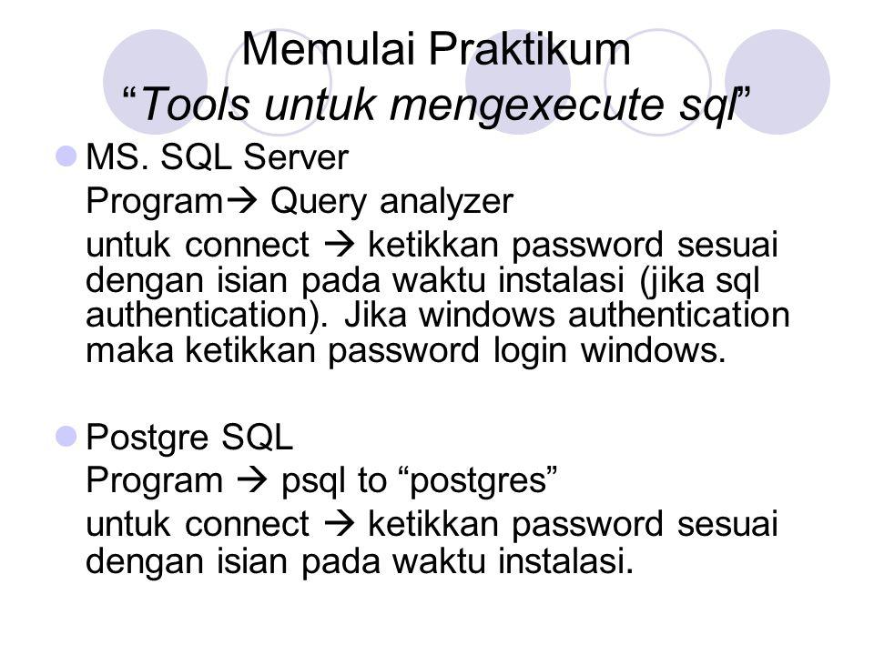 "Memulai Praktikum ""Tools untuk mengexecute sql"" MS. SQL Server Program  Query analyzer untuk connect  ketikkan password sesuai dengan isian pada wak"