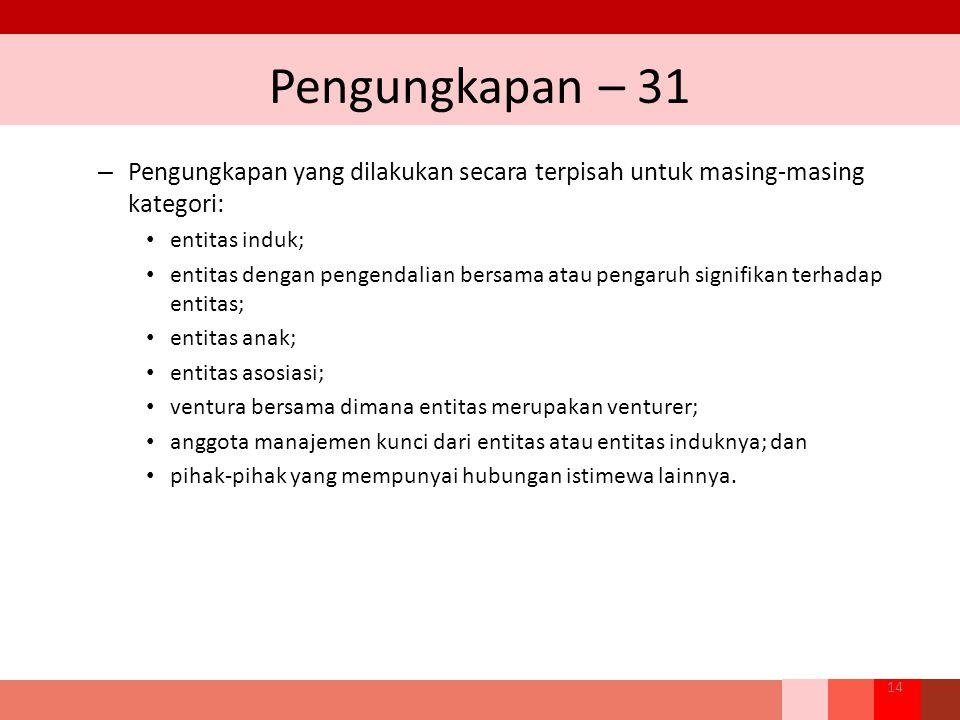 Pengungkapan – 31 – Pengungkapan yang dilakukan secara terpisah untuk masing-masing kategori: entitas induk; entitas dengan pengendalian bersama atau