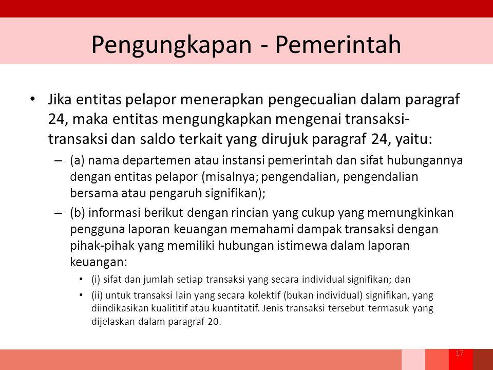 Pengungkapan - Pemerintah Jika entitas pelapor menerapkan pengecualian dalam paragraf 24, maka entitas mengungkapkan mengenai transaksi- transaksi dan