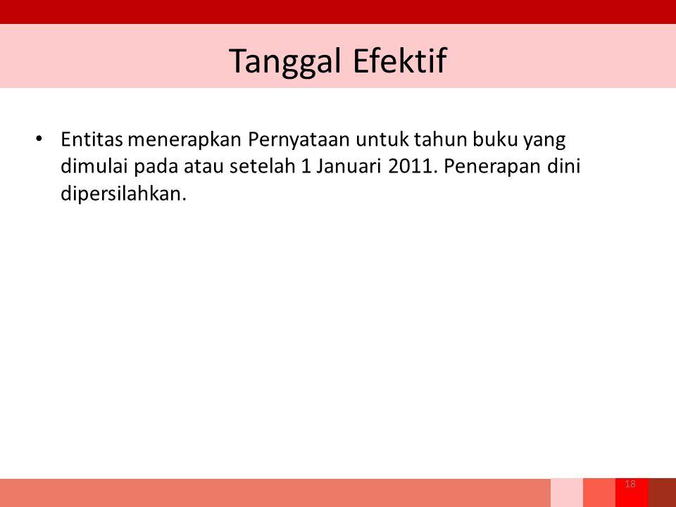 Tanggal Efektif Entitas menerapkan Pernyataan untuk tahun buku yang dimulai pada atau setelah 1 Januari 2011. Penerapan dini dipersilahkan. 18