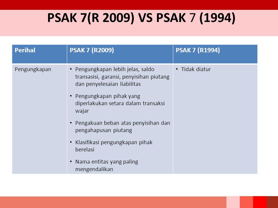 PSAK 7(R 2009) VS PSAK 7 (1994) PerihalPSAK 7 (R2009)PSAK 7 (R1994) Pengungkapan Pengungkapan lebih jelas, saldo transasisi, garansi, penyisihan piuta