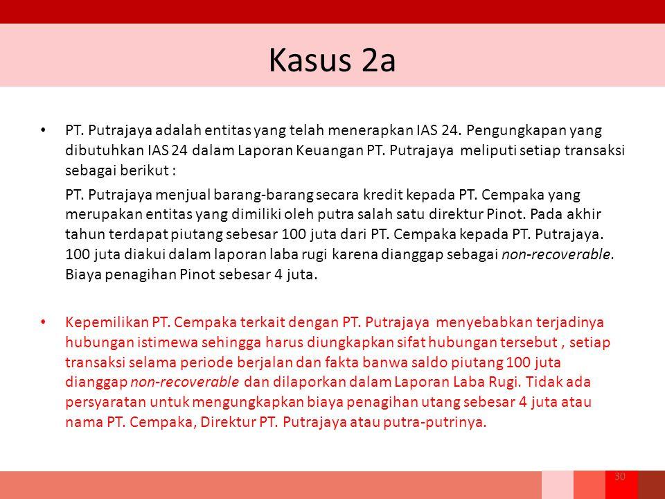 Kasus 2a PT. Putrajaya adalah entitas yang telah menerapkan IAS 24. Pengungkapan yang dibutuhkan IAS 24 dalam Laporan Keuangan PT. Putrajaya meliputi
