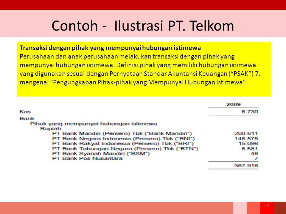 Contoh - Ilustrasi PT. Telkom 32 Transaksi dengan pihak yang mempunyai hubungan istimewa Perusahaan dan anak perusahaan melakukan transaksi dengan pih