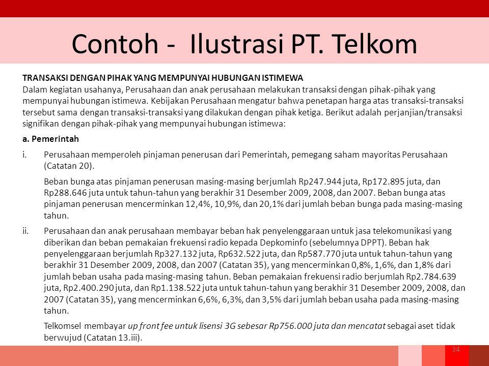 Contoh - Ilustrasi PT. Telkom 34 TRANSAKSI DENGAN PIHAK YANG MEMPUNYAI HUBUNGAN ISTIMEWA Dalam kegiatan usahanya, Perusahaan dan anak perusahaan melak