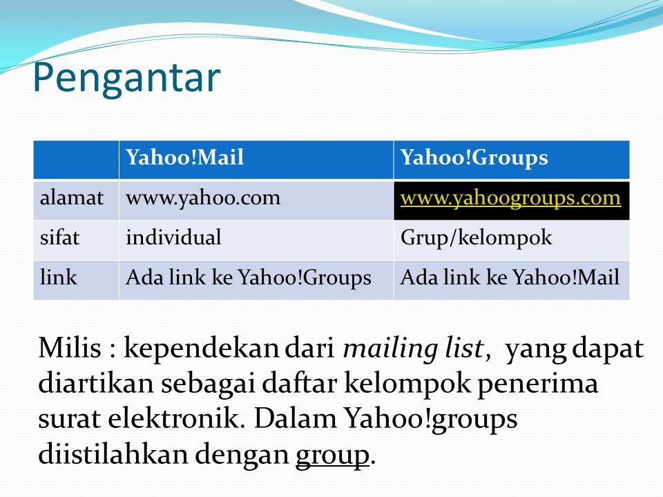 Pengantar Yahoo!MailYahoo!Groups alamatwww.yahoo.comwww.yahoogroups.com sifatindividualGrup/kelompok linkAda link ke Yahoo!GroupsAda link ke Yahoo!Mail Milis : kependekan dari mailing list, yang dapat diartikan sebagai daftar kelompok penerima surat elektronik.