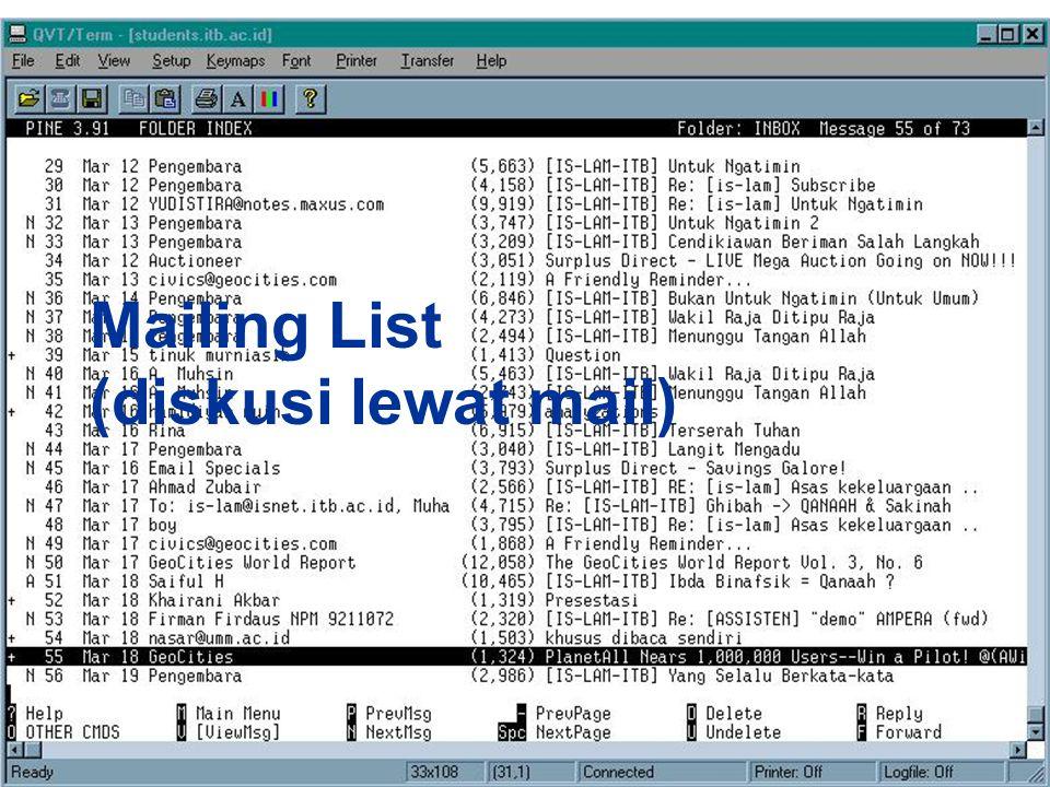 Mailing List (diskusi lewat mail)