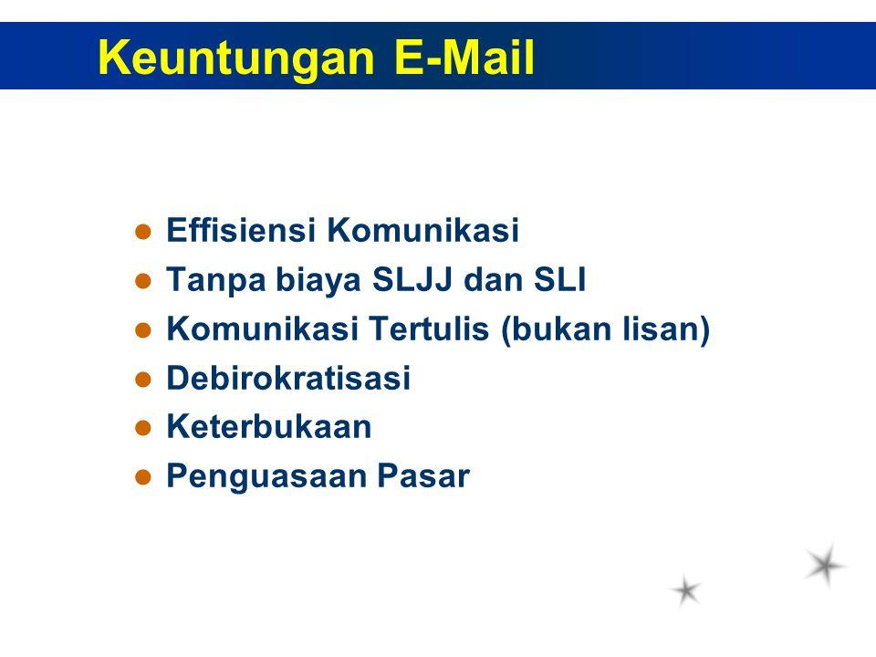 Effisiensi Komunikasi Tanpa biaya SLJJ dan SLI Komunikasi Tertulis (bukan lisan) Debirokratisasi Keterbukaan Penguasaan Pasar Keuntungan E-Mail