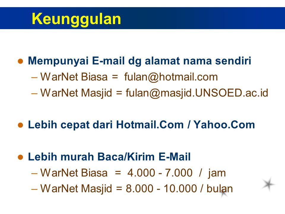 Mempunyai E-mail dg alamat nama sendiri –WarNet Biasa = fulan@hotmail.com –WarNet Masjid = fulan@masjid.UNSOED.ac.id Lebih cepat dari Hotmail.Com / Yahoo.Com Lebih murah Baca/Kirim E-Mail –WarNet Biasa = 4.000 - 7.000 / jam –WarNet Masjid = 8.000 - 10.000 / bulan Keunggulan