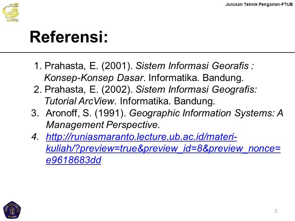 Jurusan Teknik Pengairan-FTUB 5 1. Prahasta, E. (2001). Sistem Informasi Georafis : Konsep-Konsep Dasar. Informatika. Bandung. 2. Prahasta, E. (2002).