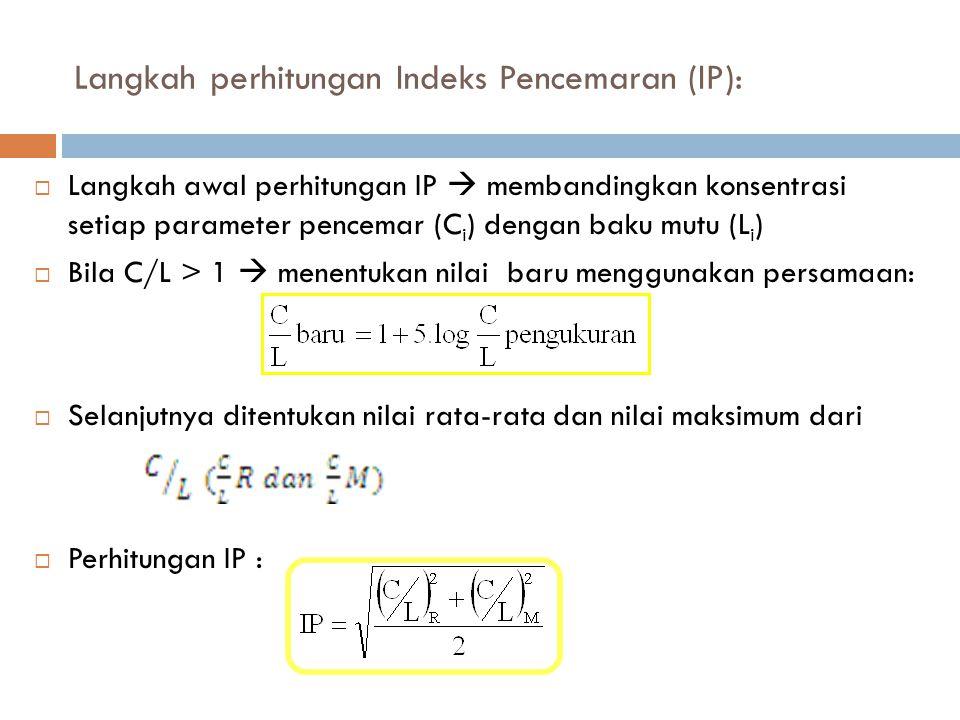 Langkah perhitungan Indeks Pencemaran (IP):  Langkah awal perhitungan IP  membandingkan konsentrasi setiap parameter pencemar (C i ) dengan baku mut