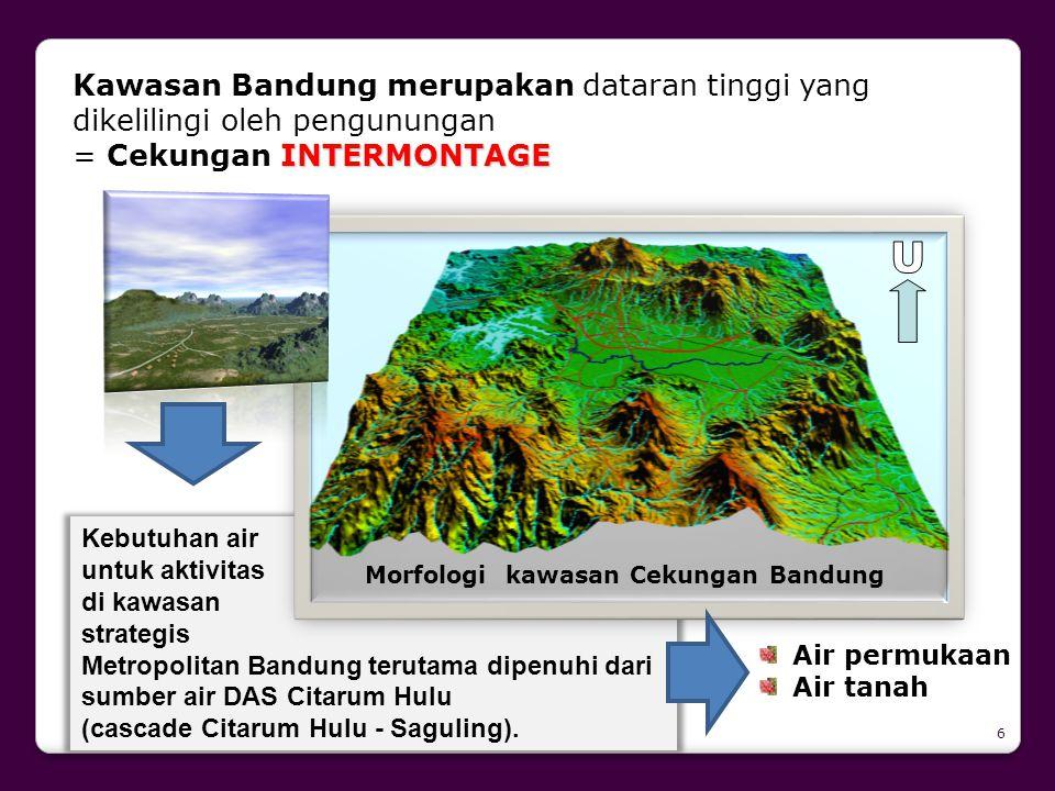 Kebutuhan air untuk aktivitas di kawasan strategis Metropolitan Bandung terutama dipenuhi dari sumber air DAS Citarum Hulu (cascade Citarum Hulu - Sag