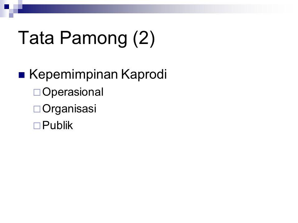 Tata Pamong (2) Kepemimpinan Kaprodi  Operasional  Organisasi  Publik