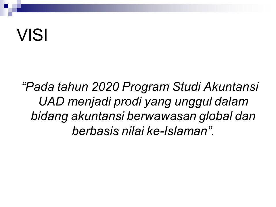 VISI Pada tahun 2020 Program Studi Akuntansi UAD menjadi prodi yang unggul dalam bidang akuntansi berwawasan global dan berbasis nilai ke-Islaman .