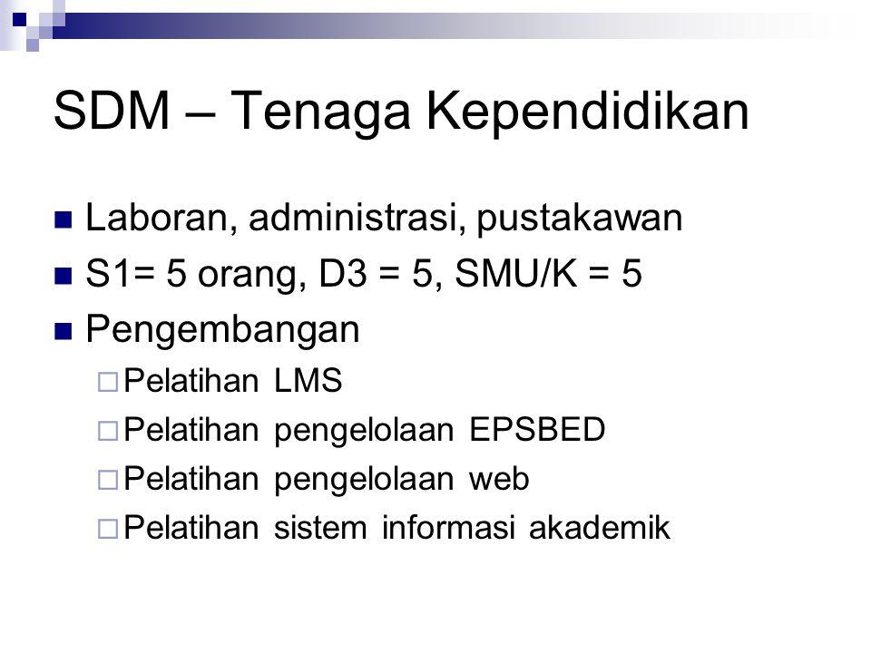 SDM – Tenaga Kependidikan Laboran, administrasi, pustakawan S1= 5 orang, D3 = 5, SMU/K = 5 Pengembangan  Pelatihan LMS  Pelatihan pengelolaan EPSBED  Pelatihan pengelolaan web  Pelatihan sistem informasi akademik