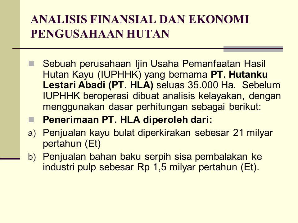 ANALISIS FINANSIAL DAN EKONOMI PENGUSAHAAN HUTAN Sebuah perusahaan Ijin Usaha Pemanfaatan Hasil Hutan Kayu (IUPHHK) yang bernama PT. Hutanku Lestari A