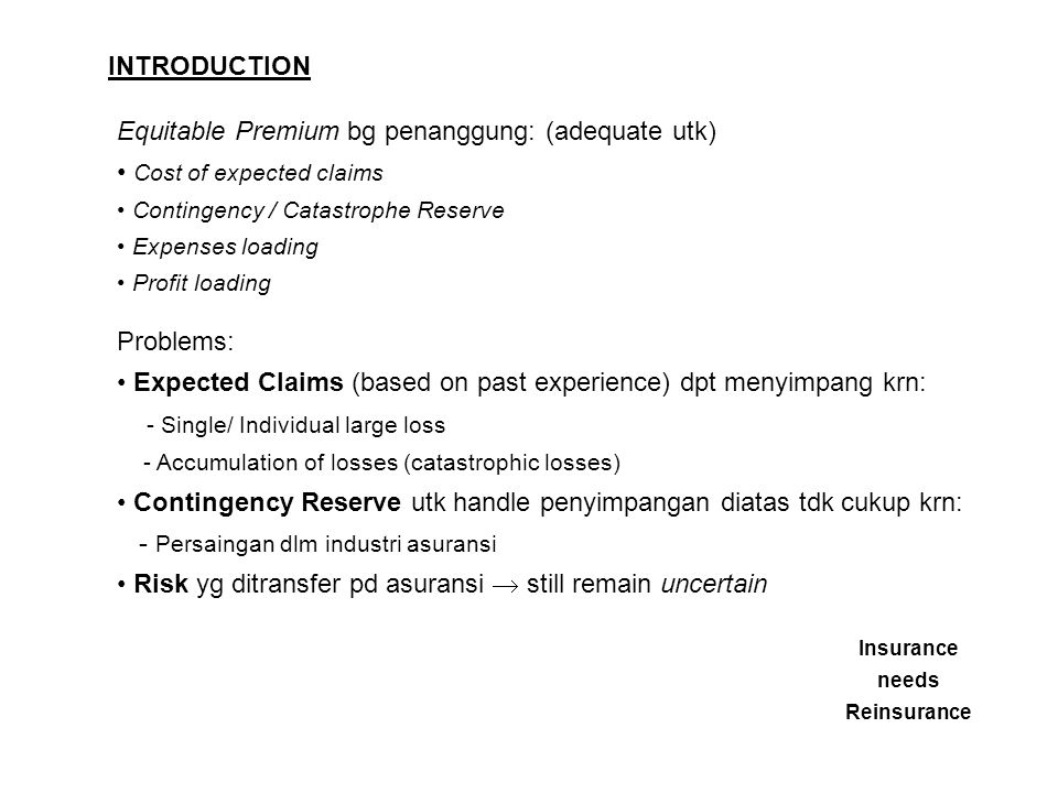 INTRODUCTION Equitable Premium bg penanggung: (adequate utk) Cost of expected claims Contingency / Catastrophe Reserve Expenses loading Profit loading