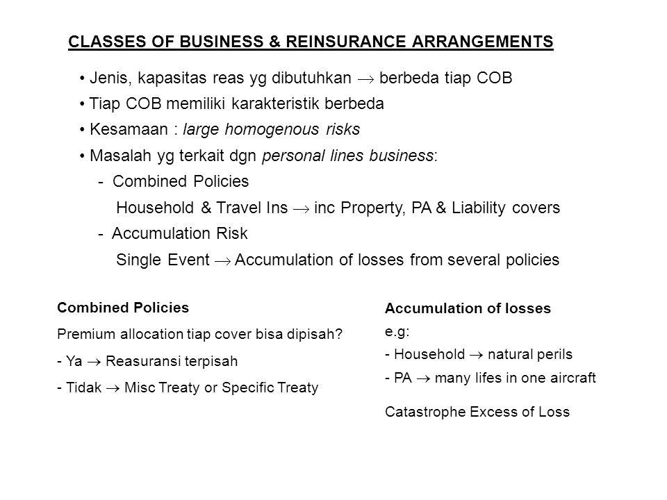 CLASSES OF BUSINESS & REINSURANCE ARRANGEMENTS Jenis, kapasitas reas yg dibutuhkan  berbeda tiap COB Tiap COB memiliki karakteristik berbeda Kesamaan