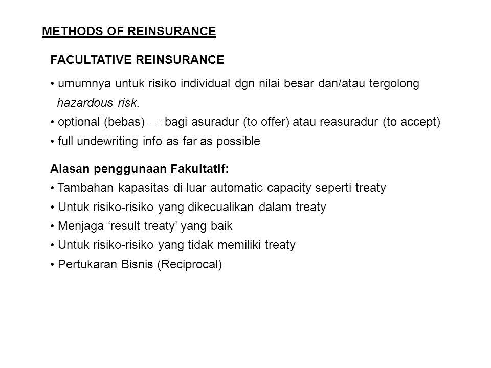 METHODS OF REINSURANCE FACULTATIVE REINSURANCE umumnya untuk risiko individual dgn nilai besar dan/atau tergolong hazardous risk. optional (bebas)  b