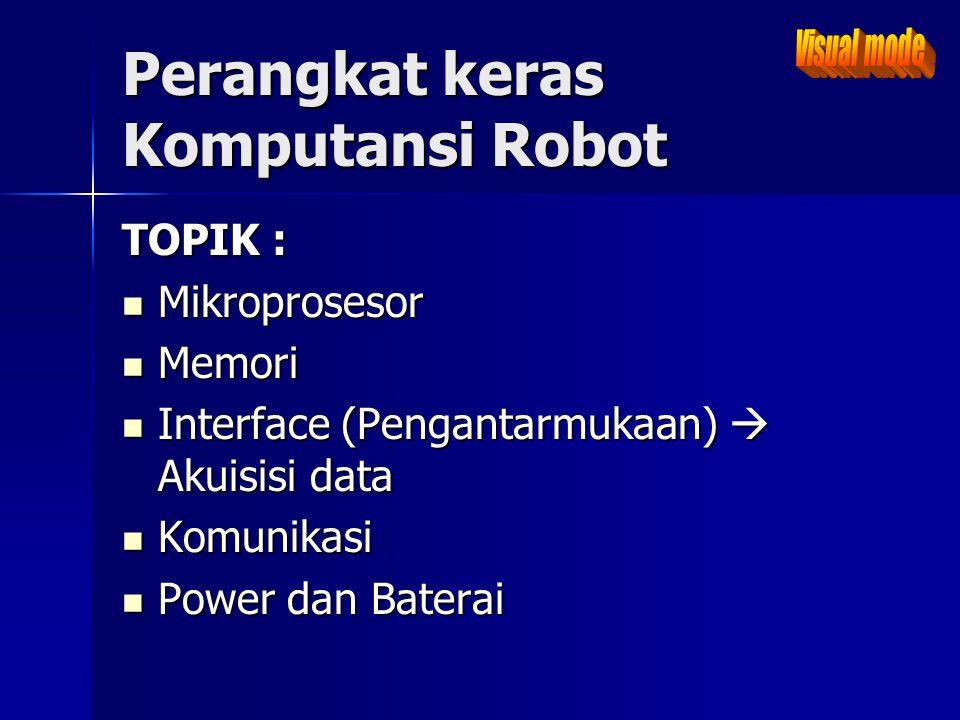Perangkat keras Komputansi Robot TOPIK : Mikroprosesor Mikroprosesor Memori Memori Interface (Pengantarmukaan)  Akuisisi data Interface (Pengantarmuk