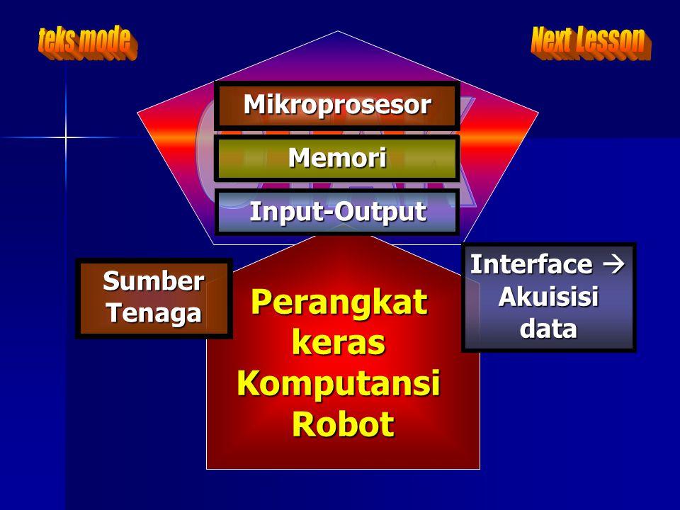 PerangkatkerasKomputansiRobot Mikroprosesor Interface  Akuisisi data Interface  Akuisisi data Input-Output Memori Sumber Tenaga