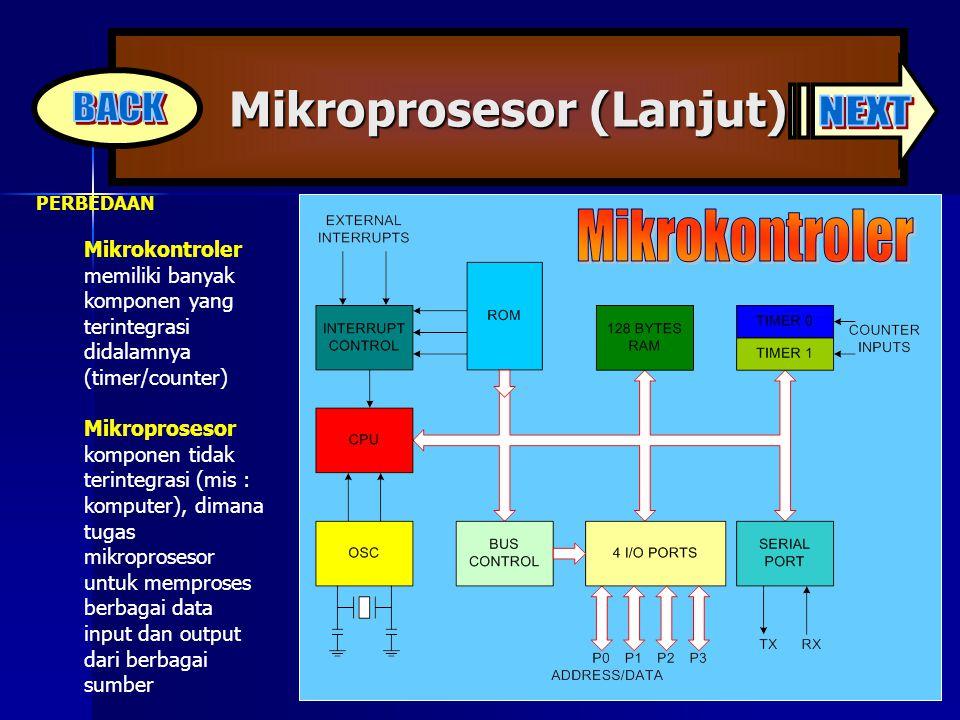 Mikroprosesor (Lanjut) PERBEDAAN Mikrokontroler memiliki banyak komponen yang terintegrasi didalamnya (timer/counter) Mikroprosesor komponen tidak ter